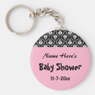 Fiesta de bienvenida al bebé blanco y negro rosada llavero personalizado