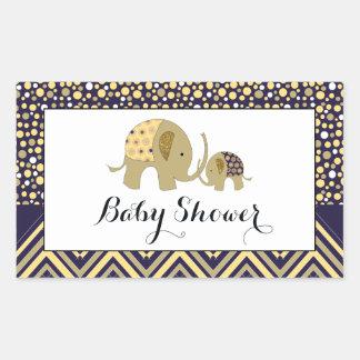 Fiesta de bienvenida al bebé bohemia del elefante pegatina rectangular