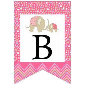 Fiesta de bienvenida al bebé bohemia rosada del banderines