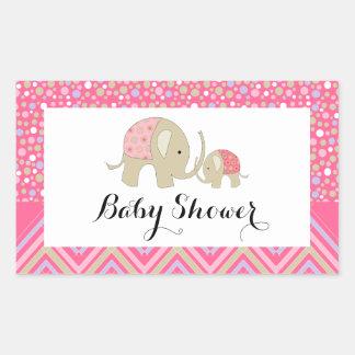 Fiesta de bienvenida al bebé bohemia rosada del pegatina rectangular