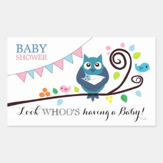 Fiesta de bienvenida al bebé caprichosa del búho pegatina rectangular