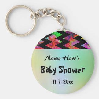 Fiesta de bienvenida al bebé colorida de Chevron Llavero Personalizado