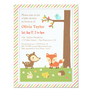 Fiesta de bienvenida al bebé colorida del animal invitación 10,8 x 13,9 cm