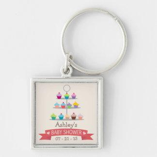Fiesta de bienvenida al bebé colorida del árbol de llavero cuadrado plateado