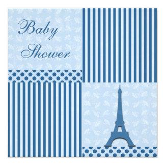 Fiesta de bienvenida al bebé con clase del azul de invitación 13,3 cm x 13,3cm