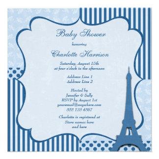 Fiesta de bienvenida al bebé con clase del azul de invitaciones personalizada