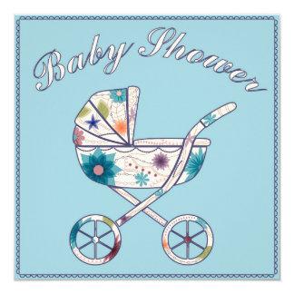 Fiesta de bienvenida al bebé con el azul 2 del invitación 13,3 cm x 13,3cm