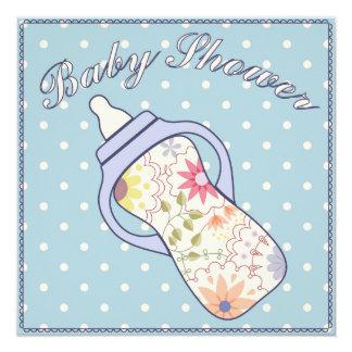 Fiesta de bienvenida al bebé con el azul de la invitación 13,3 cm x 13,3cm