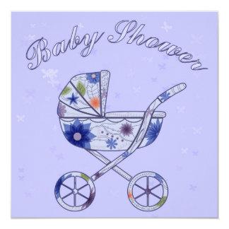 Fiesta de bienvenida al bebé con el azul del carro invitación 13,3 cm x 13,3cm