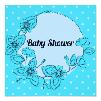 Fiesta de bienvenida al bebé con el azul floral invitación 13,3 cm x 13,3cm