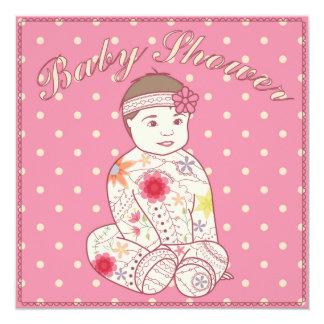Fiesta de bienvenida al bebé con el chica invitación 13,3 cm x 13,3cm