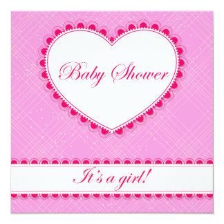 Fiesta de bienvenida al bebé con el corazón y el invitación 13,3 cm x 13,3cm