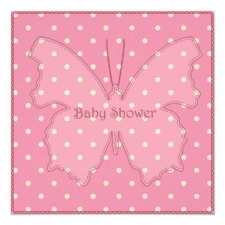 Fiesta de bienvenida al bebé con el rosa 4 de la invitación 13,3 cm x 13,3cm