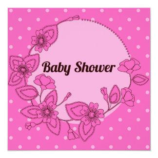 Fiesta de bienvenida al bebé con el rosa floral 2 invitación 13,3 cm x 13,3cm