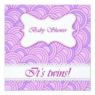 Fiesta de bienvenida al bebé con la lila del invitación 13,3 cm x 13,3cm