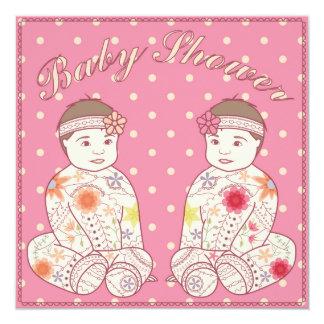 Fiesta de bienvenida al bebé con los gemelos de invitación 13,3 cm x 13,3cm