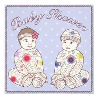 Fiesta de bienvenida al bebé con los gemelos invitación 13,3 cm x 13,3cm