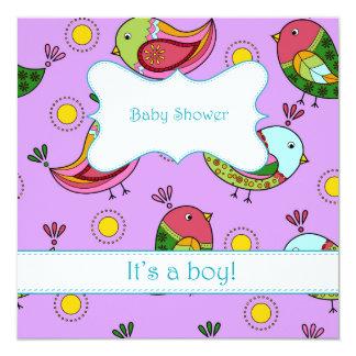 Fiesta de bienvenida al bebé con los pájaros 2 invitación 13,3 cm x 13,3cm