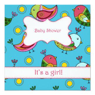 Fiesta de bienvenida al bebé con los pájaros invitación 13,3 cm x 13,3cm