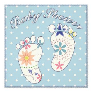 Fiesta de bienvenida al bebé con los pies azules invitación 13,3 cm x 13,3cm