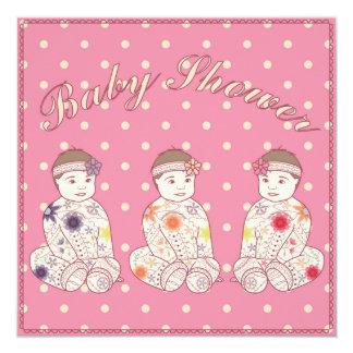 Fiesta de bienvenida al bebé con los tríos del invitación 13,3 cm x 13,3cm