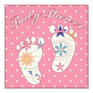 Fiesta de bienvenida al bebé con rosa de los pies invitación 13,3 cm x 13,3cm