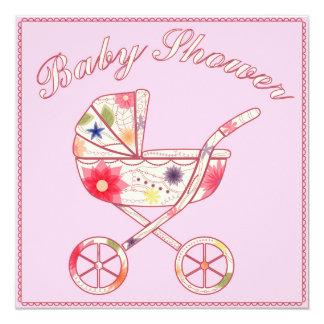 Fiesta de bienvenida al bebé con rosa del carro de invitación 13,3 cm x 13,3cm