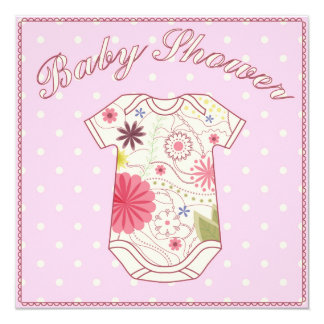 Fiesta de bienvenida al bebé con rosa del vestido invitación 13,3 cm x 13,3cm