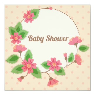 Fiesta de bienvenida al bebé con rosa floral del invitación 13,3 cm x 13,3cm