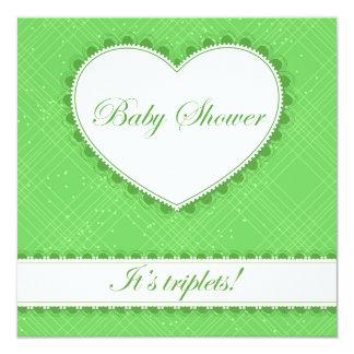 Fiesta de bienvenida al bebé con verde del corazón invitación 13,3 cm x 13,3cm