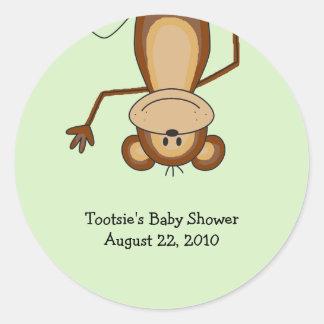 Fiesta de bienvenida al bebé/cumpleaños del mono pegatina redonda