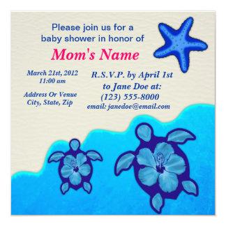 Fiesta de bienvenida al bebé de Honu del muchacho Invitación 13,3 Cm X 13,3cm