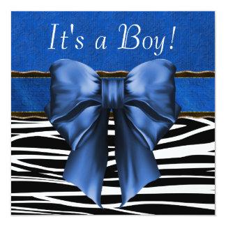 Fiesta de bienvenida al bebé de la cebra del azul invitación personalizada