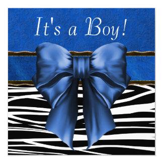 Fiesta de bienvenida al bebé de la cebra del azul invitación 13,3 cm x 13,3cm