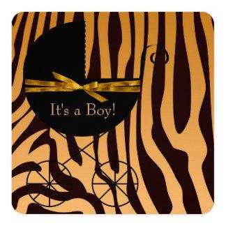 Fiesta de bienvenida al bebé de la cebra del invitación 13,3 cm x 13,3cm