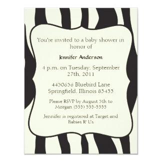 Fiesta de bienvenida al bebé de la cebra invitación 10,8 x 13,9 cm