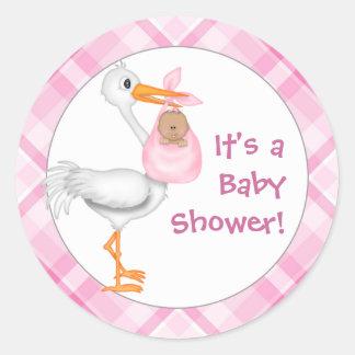 Fiesta de bienvenida al bebé de la cigüeña y de la pegatina redonda