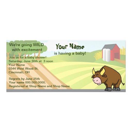 Fiesta de bienvenida al bebé de la granja de Bull Invitaciones Personales