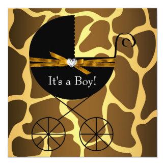 Fiesta de bienvenida al bebé de la jirafa de los invitación 13,3 cm x 13,3cm