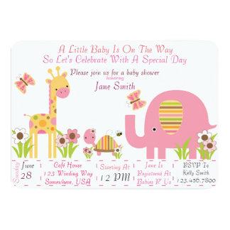 Fiesta de bienvenida al bebé de la selva (chica) invitación 12,7 x 17,8 cm