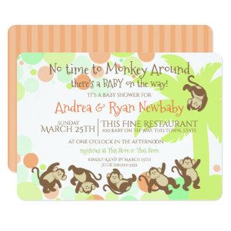 Fiesta de bienvenida al bebé de la selva del mono invitación 11,4 x 15,8 cm