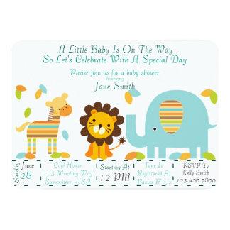 Fiesta de bienvenida al bebé de la selva invitación 12,7 x 17,8 cm