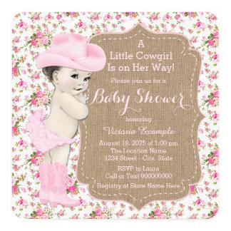 Fiesta de bienvenida al bebé de la vaquera de la invitación personalizada
