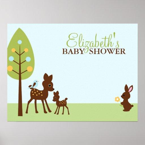Fiesta de bienvenida al bebé de los animales del a poster