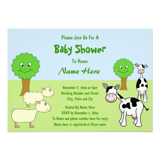 Fiesta de bienvenida al bebé de los animales del c invitaciones personales