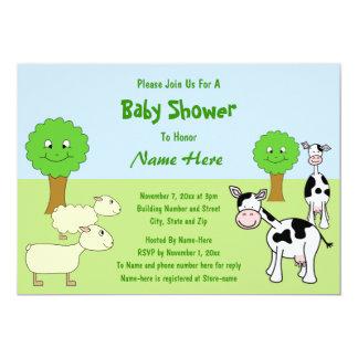 Fiesta de bienvenida al bebé de los animales del invitaciones personales