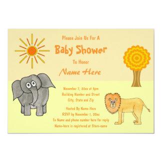 Fiesta de bienvenida al bebé de los animales del invitación