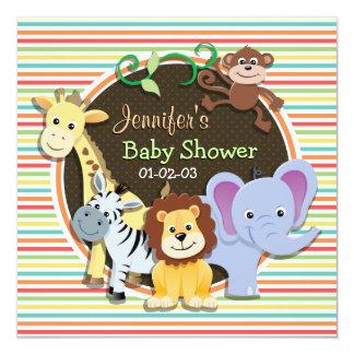 Fiesta de bienvenida al bebé de los animales del invitación 13,3 cm x 13,3cm
