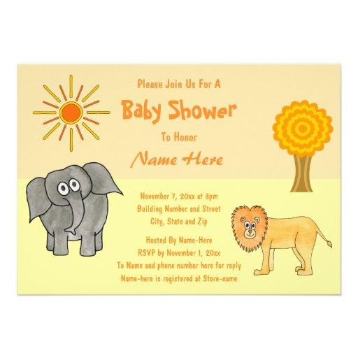Fiesta de bienvenida al bebé de los animales del s invitación