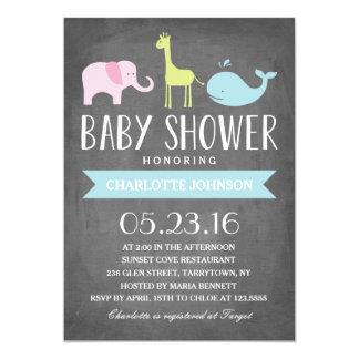 Fiesta de bienvenida al bebé de los animales el | invitación 12,7 x 17,8 cm